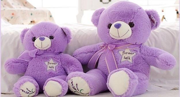 gau bong tim teddy lavender thien nga